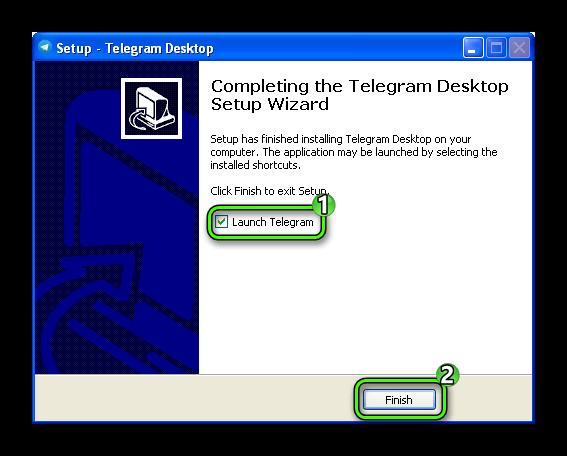 Окончание установки Telegram для Windows XP