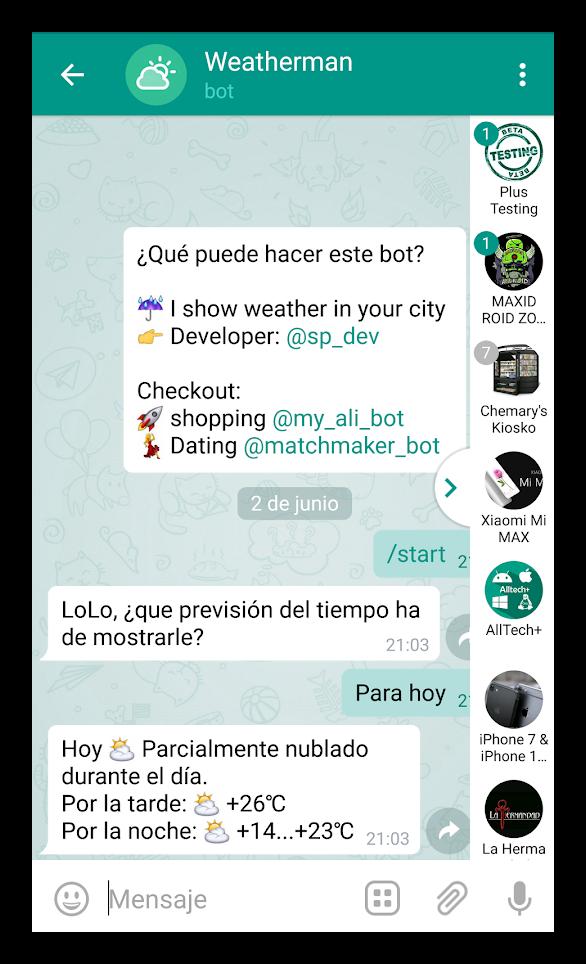 Окно чата Telegram Plus