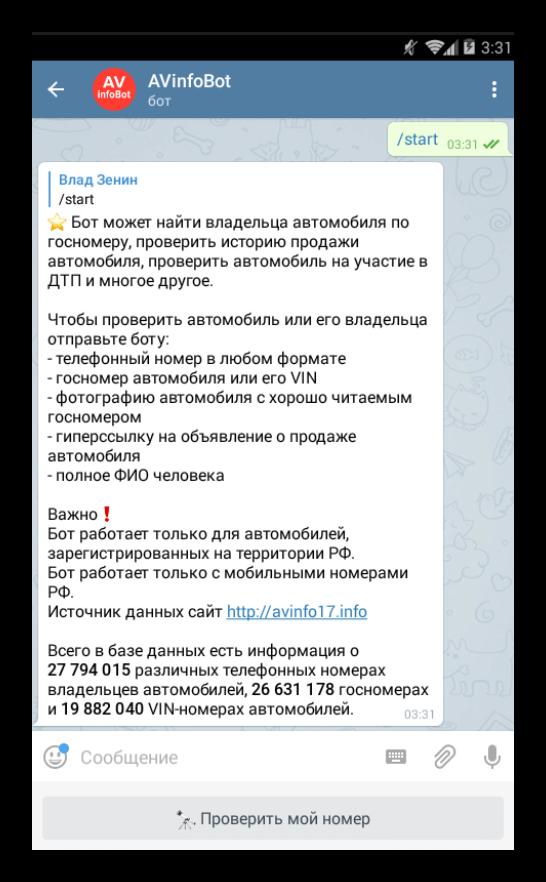 Вид avinfobot в Telegram
