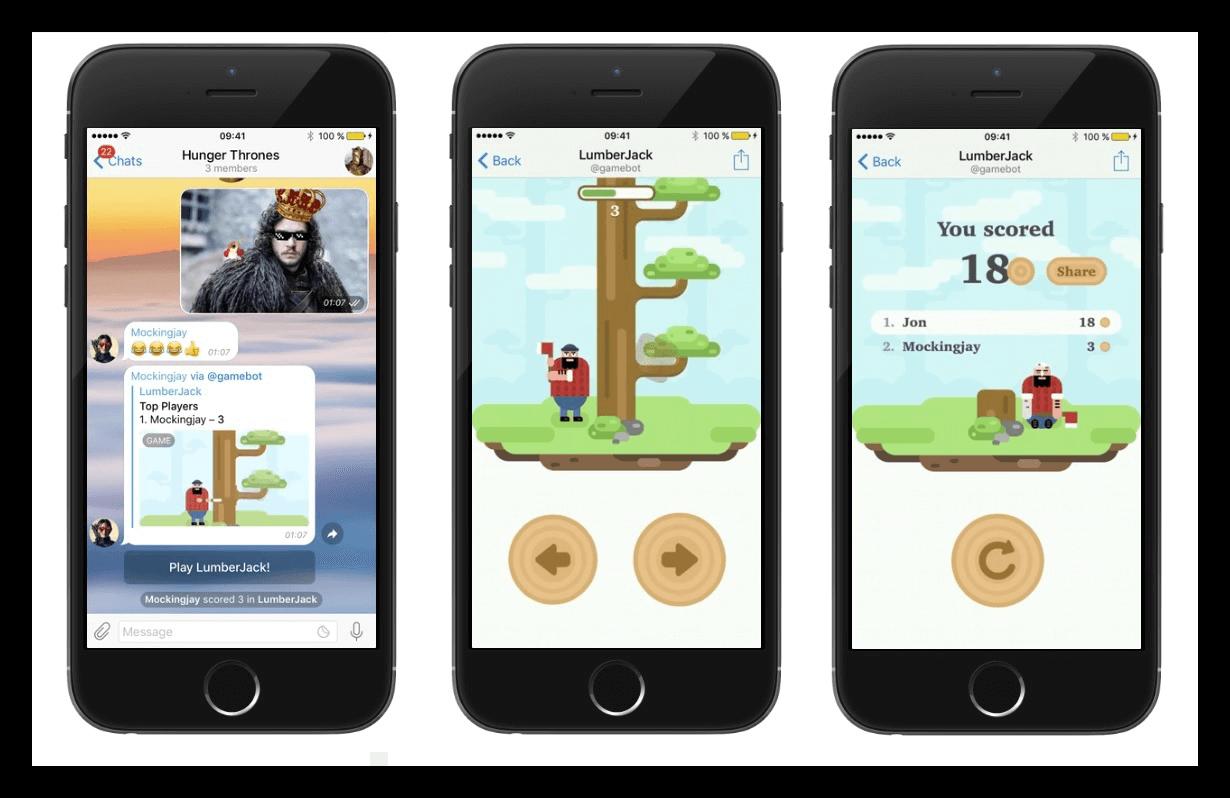 Вид игр для Telegram